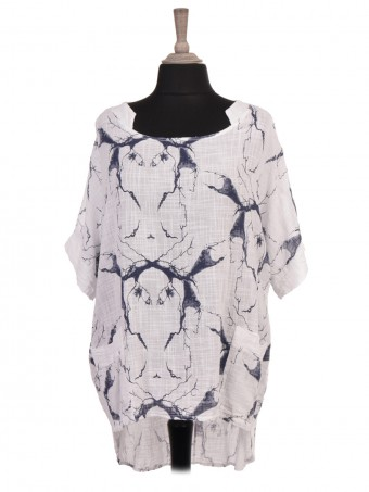 Italian Lightning Print High Low Batwing Top
