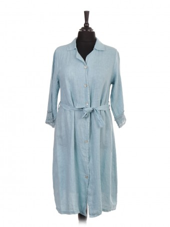 Italian Linen Belted Shirt Dress with Crochet sleeves