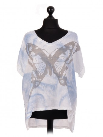 Italian Linen Butterfly Print Dim Hem Batwing Top