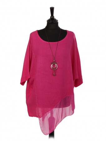 Italian Linen Asymmetric Chiffon Hem Top With Necklace
