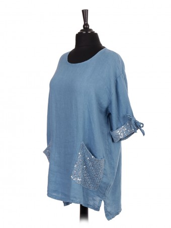 Italian Linen Crochet and Sequin Pocket High Low Top