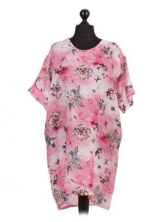 Italian Linen Floral Print Dip Hem Dress