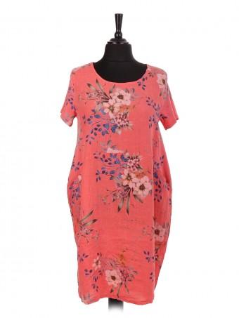 Italian Linen Floral Print Lagenlook Dress