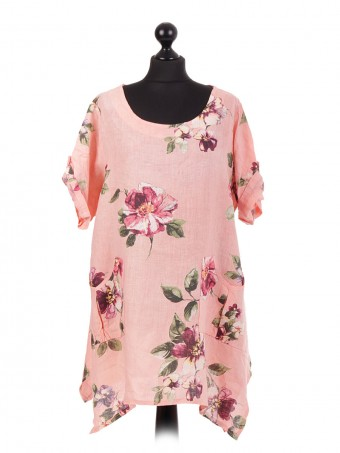 Italian Linen Floral Tunic Top