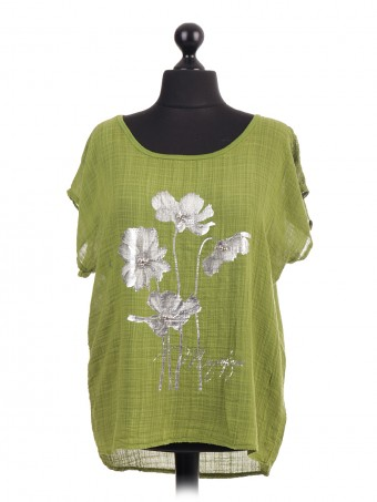 Italian Glossy Floral Print Top With Beads