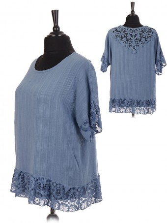 Italian Cotton Lace Hem & Back Neckline Top