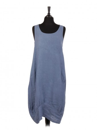 Italian Linen Lagenlook Dress With Side Ribbed Panel