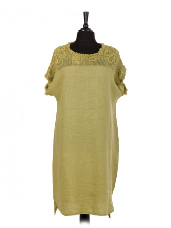 Italian Linen Mesh Net Applique Shoulder Panel Dress