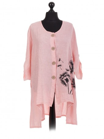 Italian Linen Palm Tree Print Shirt Dress