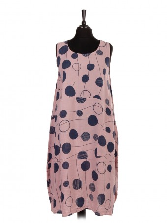 Italian Linen Polka Dot Lagenlook Dress