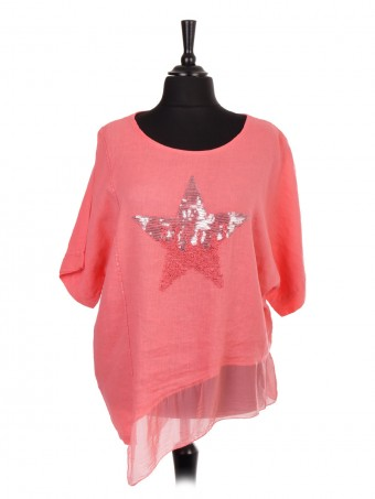 Italian Linen Sequin Star Top
