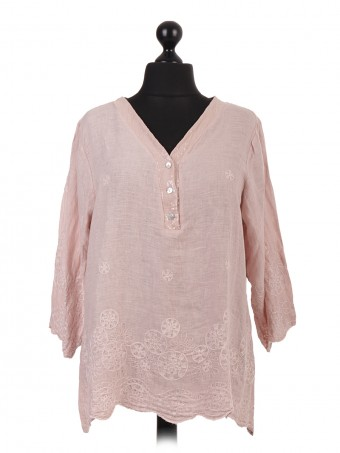 Italian Linen Embroidered Tunic Top