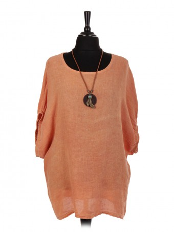 Italian Linen Cold Dye Top With Necklace and Elasticated Sleeves