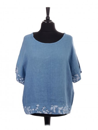 Italian Linen Top With Printed Panel On Sleeves And Hem