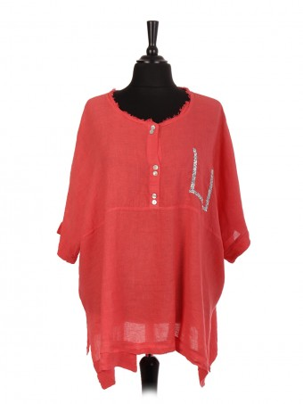 Italian Linen Tunic Top With Diamante Detail