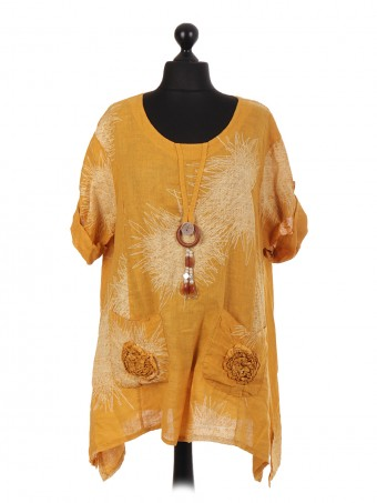 Italian Linen Tunic Top With Applique Floral Pockets