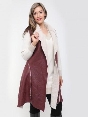 Italian long Sheepskin Style Gilet