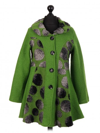 Italian Medium Length Flared Lana Wool Coat