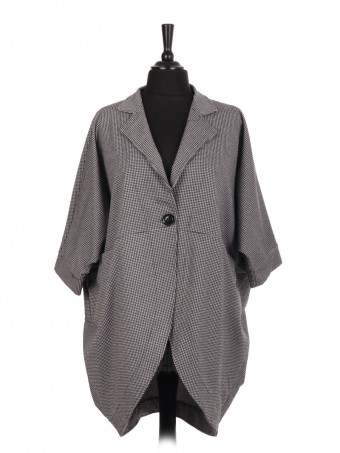 Italian One Button Dogtooth Pattern Batwing Coat