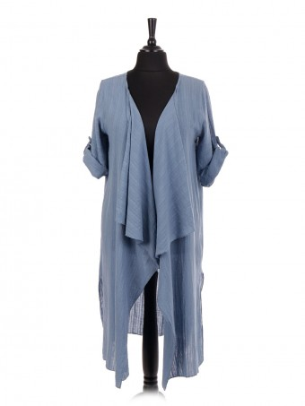 Italian Open Front Split Hem Long Cardigan
