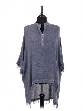 Italian Over Sized High Low Fringe Hem Top
