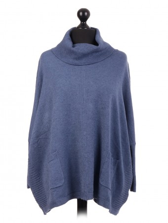 Oversized Knitted Cowl Neck Batwing Jumper