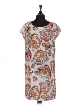Italian Paisley Print Linen Dress With Side Pockets