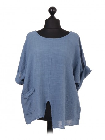 Italian Plain Cotton Front Pocket Top