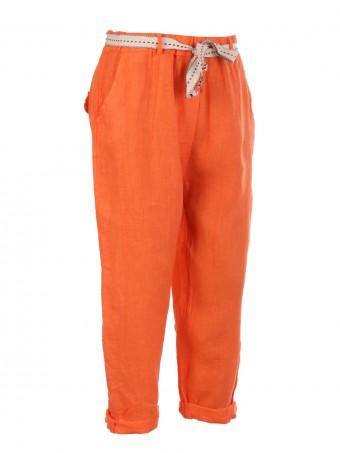 Italian Plain Linen Trouser With Side Pockets