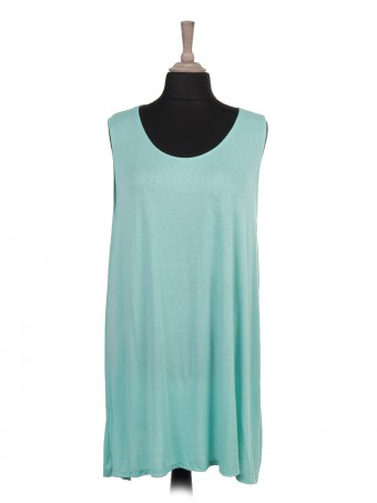 Italian Plain Sleeveless Flared Top