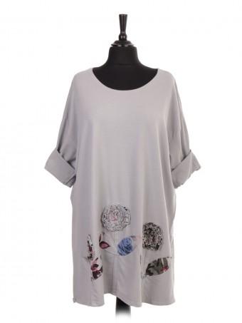 Italian Plus Size Applique Floral Cotton Top