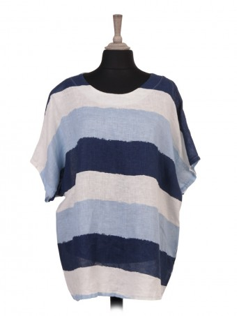 Italian Plus Size Colour Block Print Batwing Linen Top