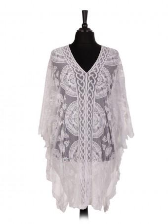 Italian Plus Size Net Embroidered Kimono Cover Up Top