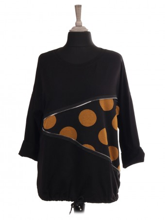 Italian Polka Dot Drawstring Hem Top With Zip Detail