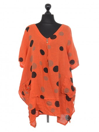 Italian Polka Dot Front Pocket Linen Tunic Top