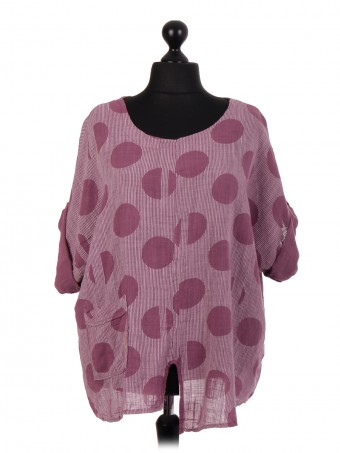 Italian Polka Dot & Stripe Cotton Top