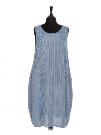 Italian Polka Dot & Stripy Print Lagenlook Dress