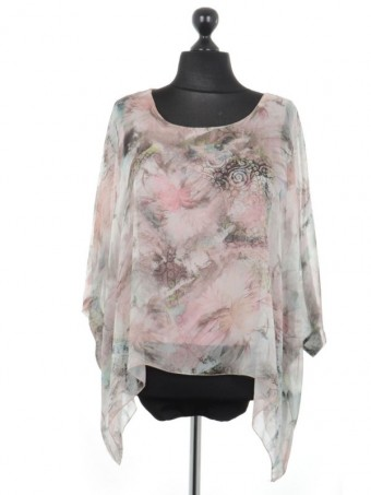 Italian Printed Batwing Tunic Top