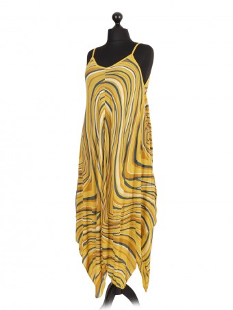 Italian Printed Dress with Fluid Handkerchief Hem