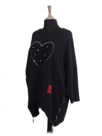 Italian Red Label Sequin Heart Lagenlook Dip Hem Top