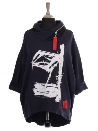Italian Red Label Zip Hooded Abstract Print Dip Hem Sweat Top