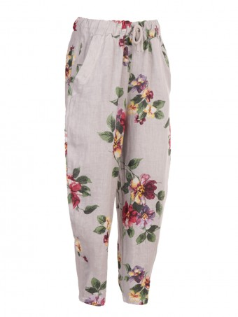 Italian Relaxed Fit Floral Linen Trousers