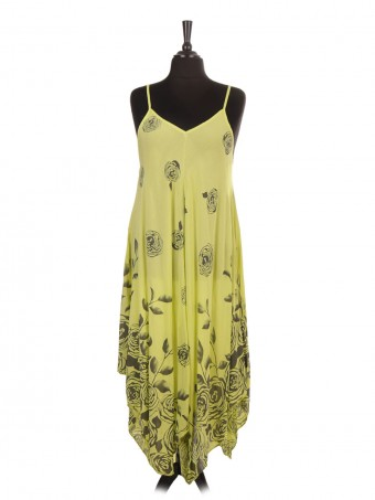 Italian Rose Flower Print Strappy Handkerchief Hem Dress