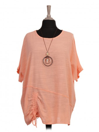 Italian Ruched Hem Batwing Top With Necklace