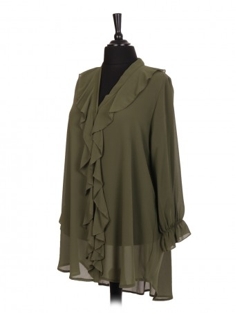 Italian Ruffled Blouse With Front Button Panel And Elasticated Sleeves
