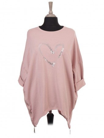 Italian Sequin And Embroidered Heart Top With Side Zip Detail