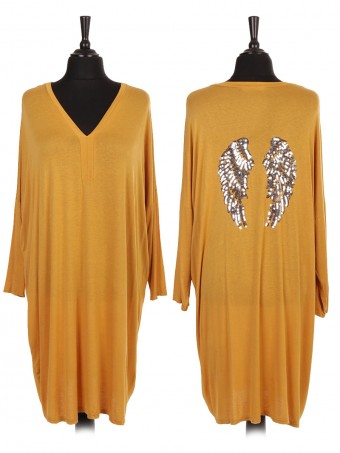Italian Sequin Angel Wing V-neck Shirt Dress