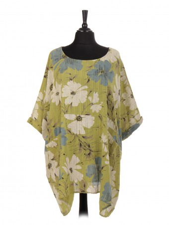 Italian Linen Floral print Batwing Top With Pockets