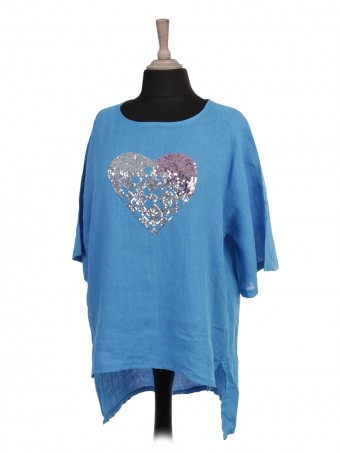 Italian Sequin Heart High Low Linen Top