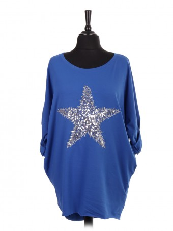 Italian Sequin Star Dip Hem Batwing Top With Side Pockets